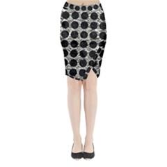 Circles1 Black Marble & Silver Foil Midi Wrap Pencil Skirt