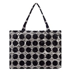 Circles1 Black Marble & Silver Foil Medium Tote Bag