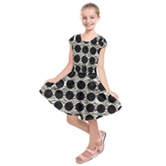 Circles1 Black Marble & Silver Foil Kids  Short Sleeve Dress