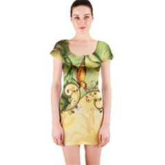 Wonderful Flowers With Butterflies, Colorful Design Short Sleeve Bodycon Dress