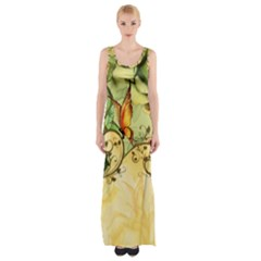 Wonderful Flowers With Butterflies, Colorful Design Maxi Thigh Split Dress