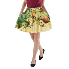 Wonderful Flowers With Butterflies, Colorful Design A Line Pocket Skirt