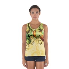 Wonderful Flowers With Butterflies, Colorful Design Sport Tank Top