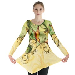 Wonderful Flowers With Butterflies, Colorful Design Long Sleeve Tunic