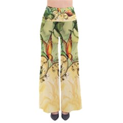 Wonderful Flowers With Butterflies, Colorful Design Pants