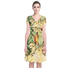 Wonderful Flowers With Butterflies, Colorful Design Short Sleeve Front Wrap Dress