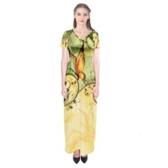 Wonderful Flowers With Butterflies, Colorful Design Short Sleeve Maxi Dress
