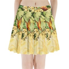 Wonderful Flowers With Butterflies, Colorful Design Pleated Mini Skirt