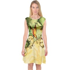 Wonderful Flowers With Butterflies, Colorful Design Capsleeve Midi Dress