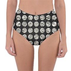 Circles1 Black Marble & Silver Foil (r) Reversible High Waist Bikini Bottoms