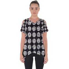 Circles1 Black Marble & Silver Foil (r) Cut Out Side Drop Tee