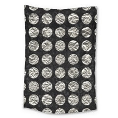 Circles1 Black Marble & Silver Foil (r) Large Tapestry
