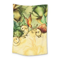Wonderful Flowers With Butterflies, Colorful Design Small Tapestry