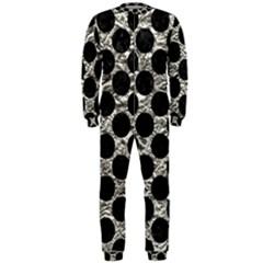 Circles2 Black Marble & Silver Foil Onepiece Jumpsuit (men)