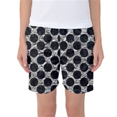 Circles2 Black Marble & Silver Foil Women s Basketball Shorts