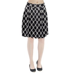 Circles2 Black Marble & Silver Foil Pleated Skirt
