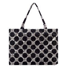 Circles2 Black Marble & Silver Foil Medium Tote Bag