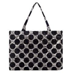 Circles2 Black Marble & Silver Foil Zipper Medium Tote Bag