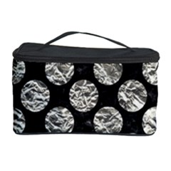 Circles2 Black Marble & Silver Foil (r) Cosmetic Storage Case