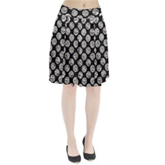 Circles2 Black Marble & Silver Foil (r) Pleated Skirt