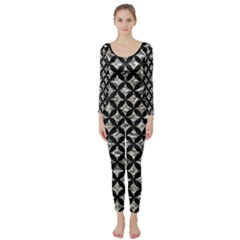 Circles3 Black Marble & Silver Foil Long Sleeve Catsuit