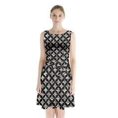 Circles3 Black Marble & Silver Foil Sleeveless Waist Tie Chiffon Dress