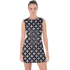 Circles3 Black Marble & Silver Foil Lace Up Front Bodycon Dress
