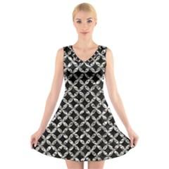 Circles3 Black Marble & Silver Foil (r) V Neck Sleeveless Skater Dress