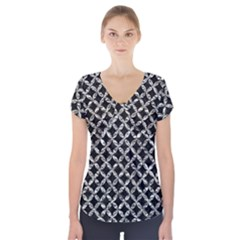 Circles3 Black Marble & Silver Foil (r) Short Sleeve Front Detail Top