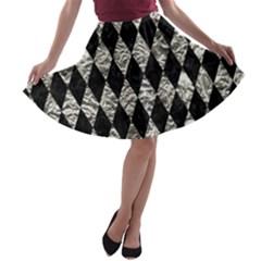 Diamond1 Black Marble & Silver Foil A Line Skater Skirt
