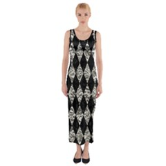 Diamond1 Black Marble & Silver Foil Fitted Maxi Dress