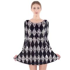 Diamond1 Black Marble & Silver Foil Long Sleeve Velvet Skater Dress