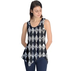 Diamond1 Black Marble & Silver Foil Sleeveless Tunic