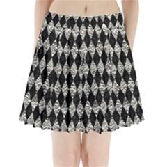 Diamond1 Black Marble & Silver Foil Pleated Mini Skirt