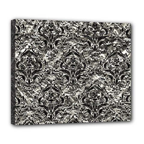 Damask1 Black Marble & Silver Foil Deluxe Canvas 24  X 20