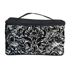 Damask1 Black Marble & Silver Foil Cosmetic Storage Case