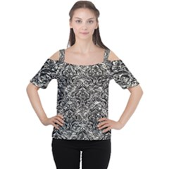 Damask1 Black Marble & Silver Foil Cutout Shoulder Tee