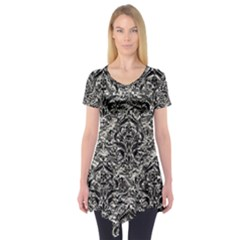 Damask1 Black Marble & Silver Foil Short Sleeve Tunic