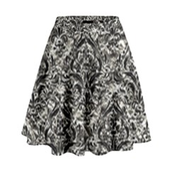 Damask1 Black Marble & Silver Foil High Waist Skirt