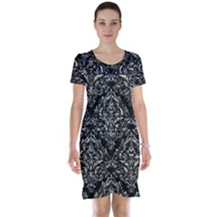Damask1 Black Marble & Silver Foil (r) Short Sleeve Nightdress