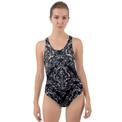Damask1 Black Marble & Silver Foil (r) Cut Out Back One Piece Swimsuit