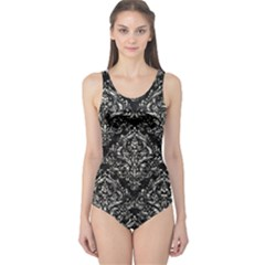 Damask1 Black Marble & Silver Foil (r) One Piece Swimsuit