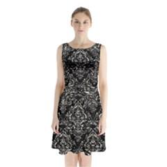 Damask1 Black Marble & Silver Foil (r) Sleeveless Waist Tie Chiffon Dress