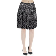 Damask1 Black Marble & Silver Foil (r) Pleated Skirt