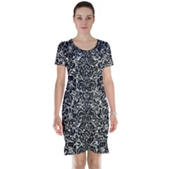 Damask2 Black Marble & Silver Foil Short Sleeve Nightdress