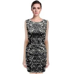 Damask2 Black Marble & Silver Foil Classic Sleeveless Midi Dress