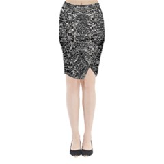 Damask2 Black Marble & Silver Foil Midi Wrap Pencil Skirt