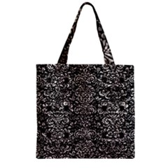 Damask2 Black Marble & Silver Foil (r) Zipper Grocery Tote Bag