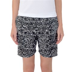 Damask2 Black Marble & Silver Foil (r) Women s Basketball Shorts