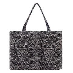 Damask2 Black Marble & Silver Foil (r) Medium Tote Bag